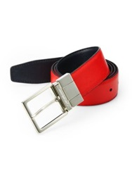 Saks Fifth Avenue Two Toned Reversible Saffiano Leather Belt White Brown Black Blue Red Navy
