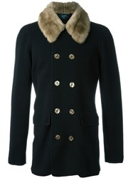 Jean Paul Gaultier Vintage Faux Fur Collar Knit Jacket Black