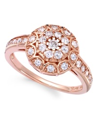 Wrapped In Love Diamond Disk Ring In 14K Rose Gold 1 2 Ct. T.W.