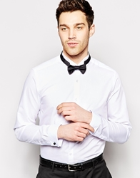 Asos Smart Tux Shirt With Textured Wing Collar And Bow Tie White