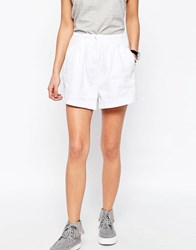 Asos Casual Woven Shorts With Ruched Waistband Ivory White