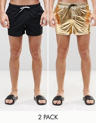 Asos Short Length Swim Shorts 2 Pack In Black And Gold Metallic Save 14 Black Gold Multi