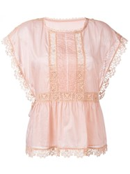 Red Valentino Embroidered Lace Trim Blouse Pink And Purple