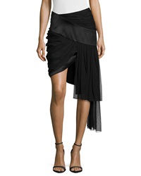 Prabal Gurung Draped Mini Skirt W Asymmetric Hem Black