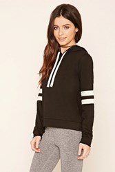 Forever 21 Striped Sleeve Pullover Hoodie