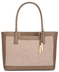 Calvin Klein Saffiano Leather Tote Dark Taupe Dark Taupe Wool