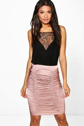 Boohoo Rouched Front Slinky Midi Skirt Mauve