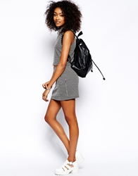 Motel Mini Skirt With Pockets In Check Weave Blackcream