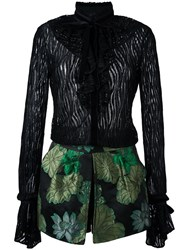 Christian Pellizzari Ruffled Floral Skirt Dress Green