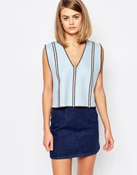 Sister Jane Pins And Stitches Overlay Vest Top Blue