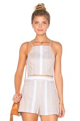 Bcbgeneration Striped Racer Back Crop Top Tan