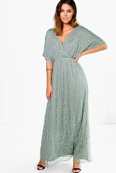 Boohoo Sal All Over Sequin Wrap Maxi Dress Sage