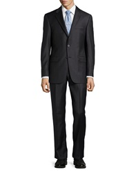 Hickey Freeman Two Piece Woven Wool Suit Black