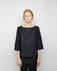 Marni Indigo Denim Blouse Blue Black