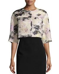 Lafayette 148 New York Rowan Half Sleeve Cropped Jacket Ash Multi Women's Ash Multi