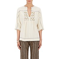 Masscob Women's Embroidered Peasant Top Ivory
