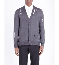 Alexander Mcqueen Distressed Wool And Silk Blend Cardigan Slate Grey