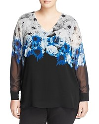 Calvin Klein Plus Floral Print High Low Blouse Tin Combo