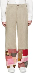 Junya Watanabe Tan Linen Patchwork Levi's Edition Trousers