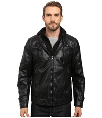 Marc New York Newfane Distressed Faux Leather Moto Jacket With Removable Bib Hoodie Black Men's Coat