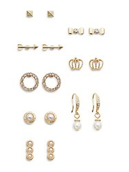 Cara Eight Pair Crystal And Faux Pearl Stud Set Goldtone