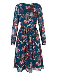Yumi Owl And Flower Print Midi Dress Teal