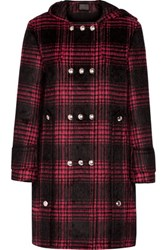 Alexander Wang Checked Cotton Blend Hooded Coat Red
