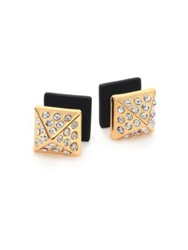 Marc By Marc Jacobs Pyramid Two Sided Stud Earrings Goldtone Black