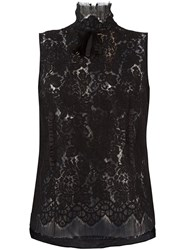 N 21 No21 'Lace Embroidered' Sleeveless Top Black