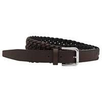 Reiss Gaston Lattice Weave Leather Belt Mid Brown