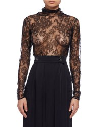 Lanvin Long Sleeve Sheer Lace Turtleneck Top Black
