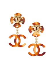 Chanel Vintage Cc Logo Clip On Earrings Metallic