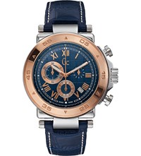 Gc X90015g7s Rose Gold Plated Stainless Steel And Leather Watch Blue