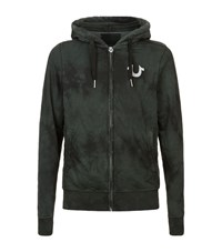 True Religion Moon Wash Zip Up Hoodie Male Dark Green