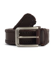 Pretty Green Garby Woven Leather Belt Brown