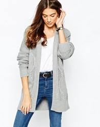 Jack Wills Oversized Longline Lounge Aran Cardigan Grey