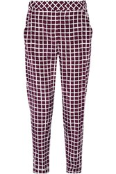 Oscar De La Renta Printed Wool And Cotton Blend Straight Leg Pants Merlot