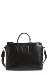 Men's Ben Minkoff 'Brompton' Leather Briefcase Black Black Black