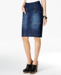 Jag Janelle Pull On Denim Pencil Skirt Blue Shadow
