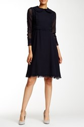Orla Kiely Ruffle Trim Silk Dress Blue