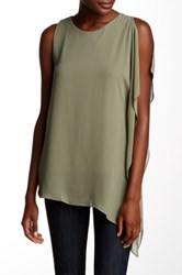 Vince Camuto Sleeveless Chiffon Overlay Asymmetrical Blouse Green