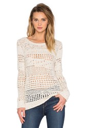 Inhabit Crew Neck Crochet Sweater Ivory
