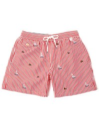 Polo Ralph Lauren Red Striped With Trim Swim Shorts