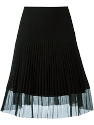 Christian Dior Vintage Ribbed A Line Skirt Black