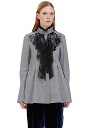 Lanvin Lace Ruffle Flared Checked Shirt Black