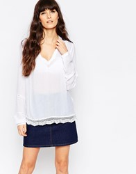 Vila Long Sleeve Top With Embriodered Hem Snow White