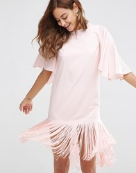 Asos Flutter Sleeve Mini T Shirt Dress With Fringe Hem Nude Pink