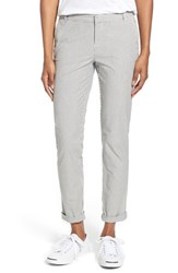 Women's Caslon Chino Ankle Pants Navy Ivory Mini Stripe