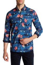 Wesc Concrete Flower Long Sleeve Slim Fit Shirt Blue