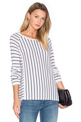 White Warren Mix Stripe Sweater Black And White